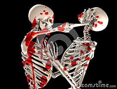 Blutige kämpfende Skelette