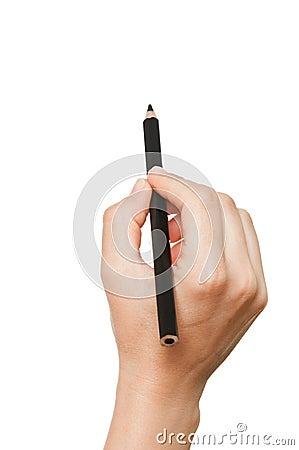 Blyertspenna i hand