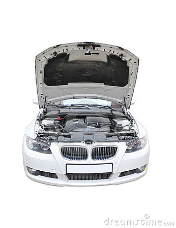 BMW 335i Bonnet Open Isolated Royalty Free Stock Photos - Image: 7923688