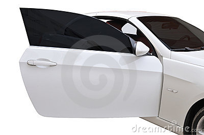 A white BMW 335i convertible sports car\u0027s door open.