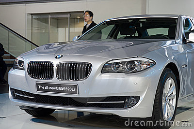 BMW 520Li car on display Editorial Stock Image