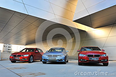 BMW 3 series on display at BMW World Editorial Stock Image