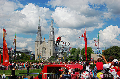 BMX BACK FLIP on Canada Day in Ottawa Editorial Image