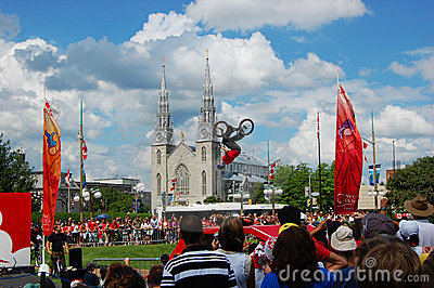 BMX BACK FLIP on Canada Day in Ottawa Editorial Stock Photo