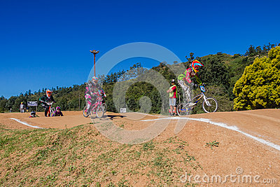 BMX Bicyle Race Girls Riders Editorial Photo