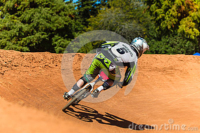 BMX Cycle Racing Male Corner Editorial Photo