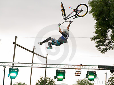 BMX jump athletes show there moves Editorial Stock Photo
