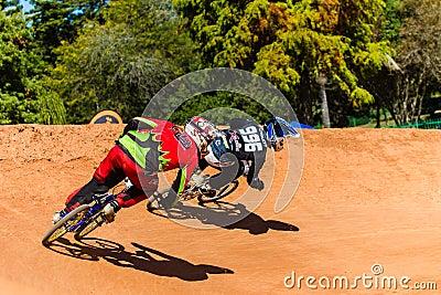 BMX Racing Riders Last Corner Editorial Photography