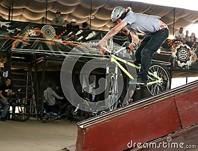 Bmx trick. Editorial Photo