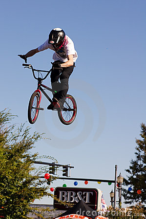 BMX vertical barspin jump Editorial Stock Photo