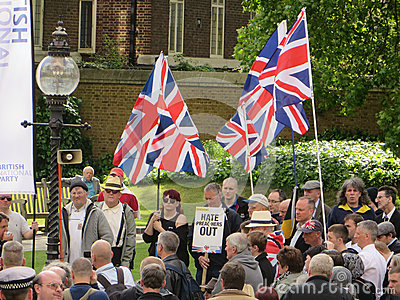 The BNP protest in Londons Westminster 1st June 2013 Editorial Image