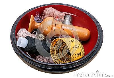 Bo te en bois avec les accessoires de couture photo stock for Boite a couture avec accessoires