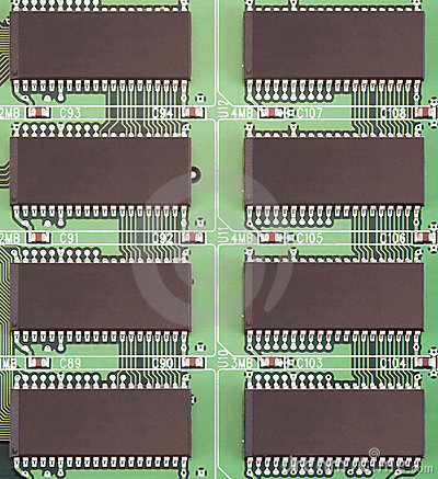 Board with conducting paths and computer chips