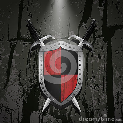 Free Board On A Stone Wall Background Behind It Two Swords Eps 10 Royalty Free Stock Image - 61787796