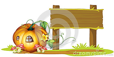 Board and pumpkin house