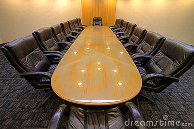 Board room table in conference room