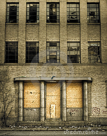 Free Boarded Up Abandoned Building Entrance Royalty Free Stock Photography - 15136207