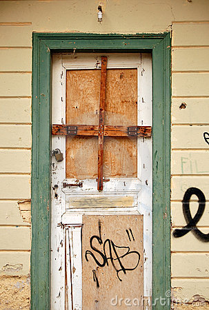 Free Boarded Up Door Royalty Free Stock Photo - 12305895