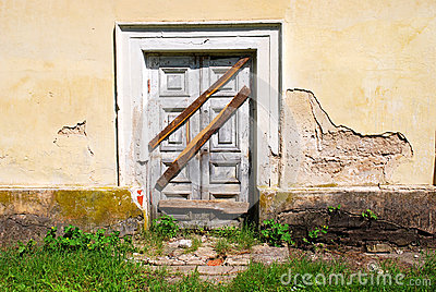 Boarded up entrance