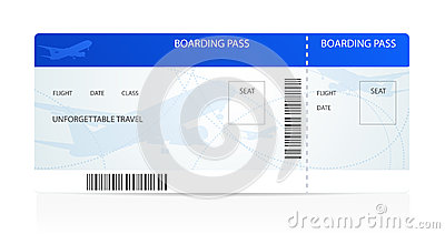 Boarding Pass Ticket With Plane Airplane Stock Image