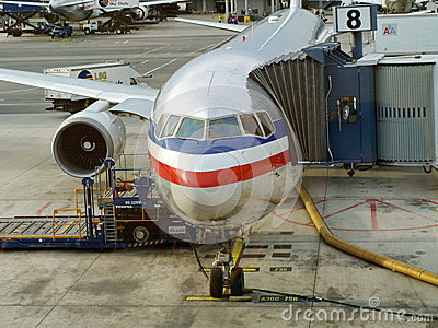 Boarding to an AA aircraft Editorial Photography
