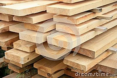 Boards in stacks outside