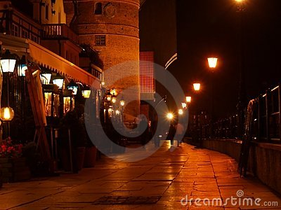 Boardwalk at night in Gdansk city