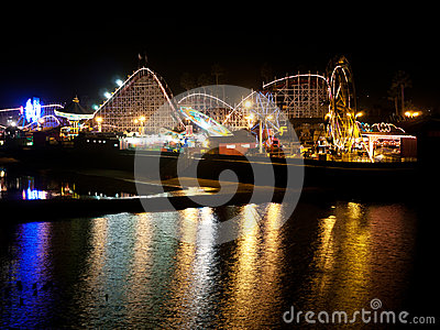 Boardwalk at night Santa Cruz California