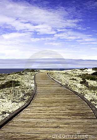 Boardwalk over sand dunes