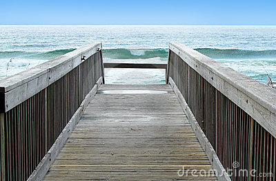 Boardwalk to ocean waves