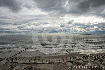 Boardwalk was washed away during Hurricane Sandy Editorial Image