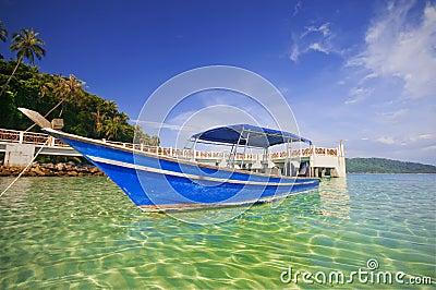 Boat against blue sky.