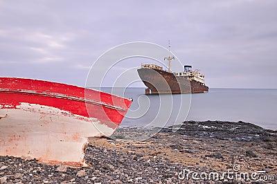 Boat aground.