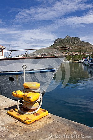 Boat anchored in the harbour.