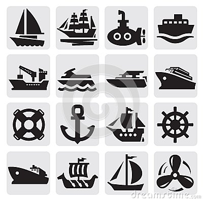Free Boat And Ship Icons Set Royalty Free Stock Photos - 26369728