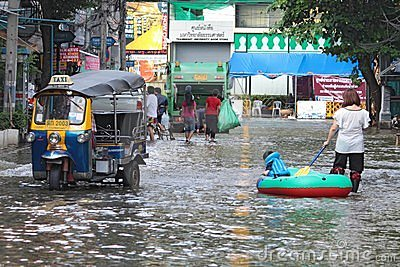 Boat on bangkok street. Editorial Stock Image