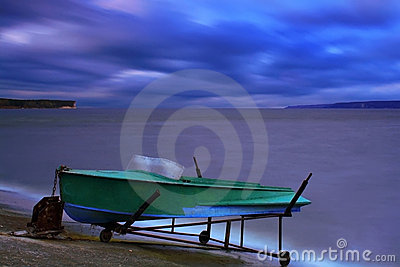 Boat on the bank of a lake