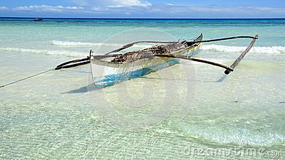 Boat on a beach, Bohol Island, Philippines