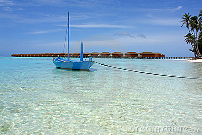 Boat at the beach on maldives