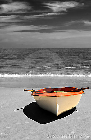 Boat on the beach, Selective colouring.