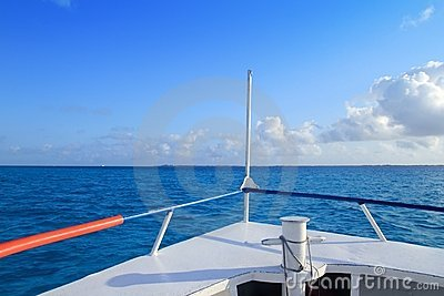 Boat bow blue Caribbean sea Cancun to Isla Mujeres