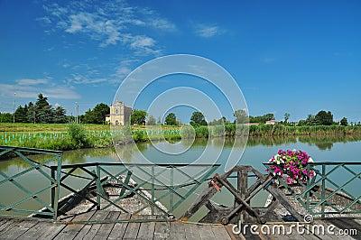 Boat bridge by Commessaggio, Sabbioneta, Italy