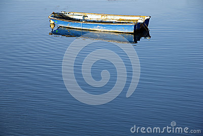 Boat and calm blue sea