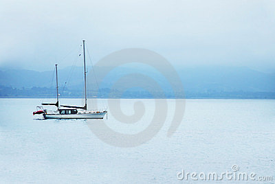 Boat on calm sea water
