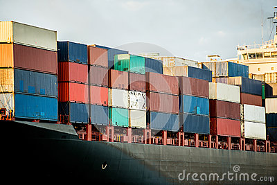 Boat carrying containers
