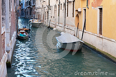 Boat in channel of Venice