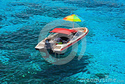 Boat at clear sea