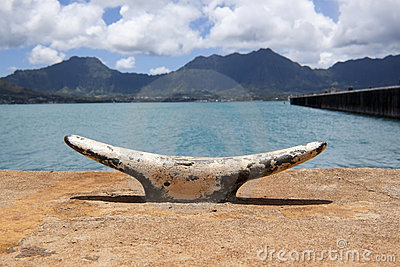 Boat cleat with mountain background