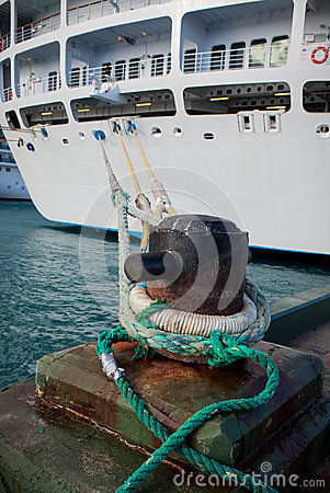 Boat cleat ties cruise ship to dock