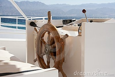 Boat cockpit and wheel